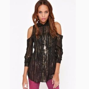 NWT Kirra Cold Shoulder Black/Gold Tunic Small